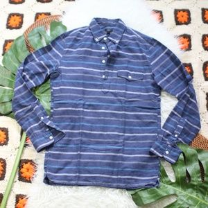 J. Crew Half Button Striped Shirt Blue Size XS
